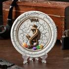 "The souvenir plate ""lizard with a crown"", ceramic, gypsum, minerals, d=11 cm"