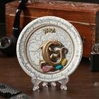 "The souvenir plate ""lizard gypsum"", ceramics, gypsum, minerals, d=11 cm"