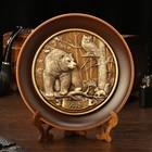 "Тарелка сувенирная ""Медведь,сова и белка"", керамика, гипс, d=16 см"