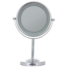 Зеркало косметическое BaByliss 8435 E, 7 Вт, d=11 см, 3xAA, с подсветкой, серебристое
