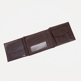Портмоне мужское, 2 отдела, цвет коричневый - фото 60613