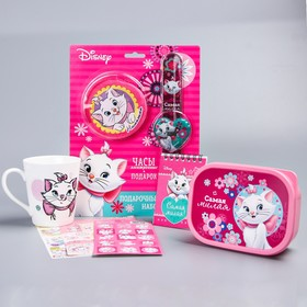 Gift set, the aristocats. Piggy Bank, watch, purse, lunch box,stickers, Notepad