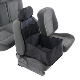 Автогамак для перевозки животных на переднее сидение с дополнительными карманами, серый, 3 слоя с ПВХ600, чехол на подголовник