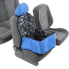 Гамак для перевозки животных на переднее сидение, 40х40 см, синий, 3 слоя с ПВХ 602