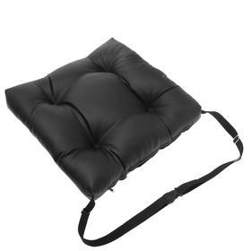 Подушка на сиденье из экокожи, с фиксирующим ремнем, черная
