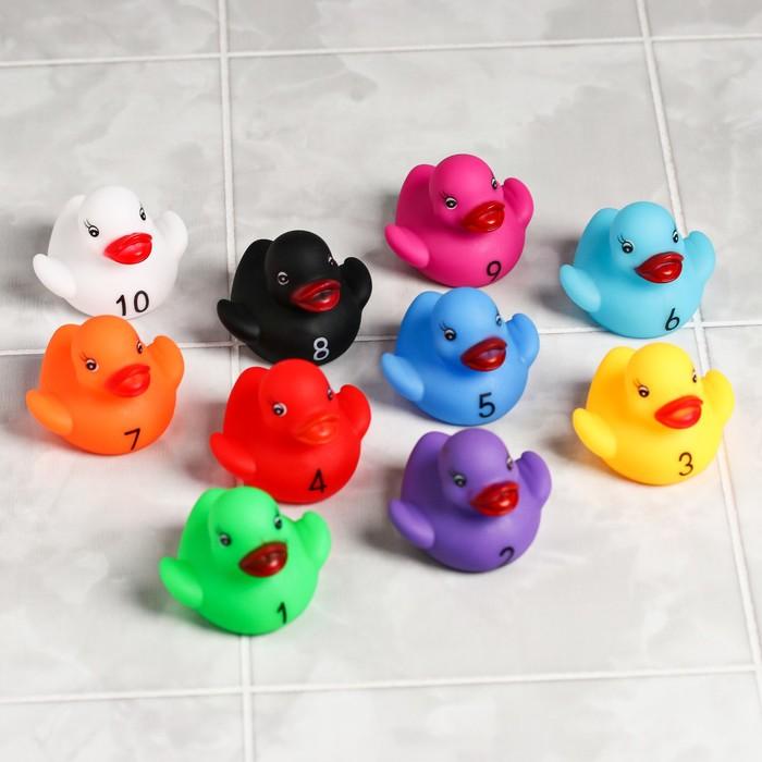 Набор  игрушек для купания «Уточки - цифры», 10 шт - фото 105534231