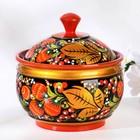Sugar bowl, 13х12 cm, Khokhloma