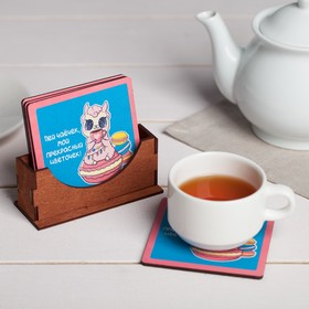 "A set of coasters under hot stand ""Drink have a cuppa my flower"" 9 cm, 4 PCs"