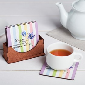 "A set of coasters under hot stand ""Life is made of moments"" 9 cm, 4 PCs"
