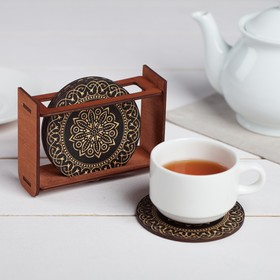 "A set of coasters under hot stand ""Patterns black gold"" 9 cm, 4 PCs"