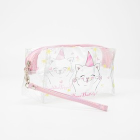 Cosmetic bag PVC kitty, 18,5*9*9,5 cm, otd zipper, mother of pearl