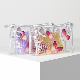 Set of cosmetic bags 2/1 Butterflies 25,5*7*16 the division with zip, pink