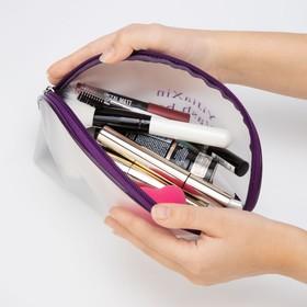 Косметичка ПВХ, отдел на молнии, с ручкой, матовая, цвет фиолетовый - фото 8151160