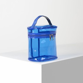 Cosmetic bag PVC color 20*13*21, otd zipper, with handle, blue