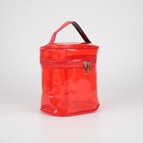 Косметичка ПВХ, отдел на молнии, с ручкой, цвет красный - фото 1770011