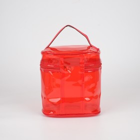 Косметичка ПВХ, отдел на молнии, с ручкой, цвет красный - фото 1770012