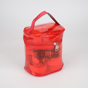 Косметичка ПВХ, отдел на молнии, с ручкой, цвет красный - фото 1770013