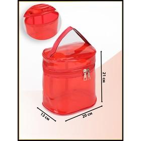 Косметичка ПВХ, отдел на молнии, с ручкой, цвет красный - фото 1770014