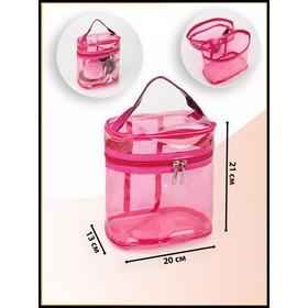 Косметичка ПВХ, отдел на молнии, с ручкой, цвет малиновый - фото 1770142