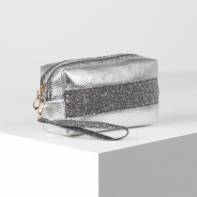 Cosmetic bag th Shine, 19*7*10, otd zipper, with handle, silver