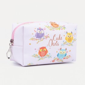 Cosmetic bag th Owls, 16*7*10 the division with zip, pink