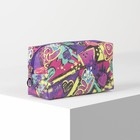 Cosmetic bag th Love, 18*7*10 Department with zipper, raspberry