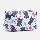 Cosmetic bag th Cat 18*7*10 the division zipper, white