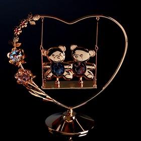 "Сувенир с кристаллами Swarovski ""Мишки на качелях"" 14,4 х13,4 см"