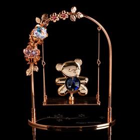 "Сувенир с кристаллами Swarovski ""Мишка на качелях"" 13,2х10,5 см в Донецке"
