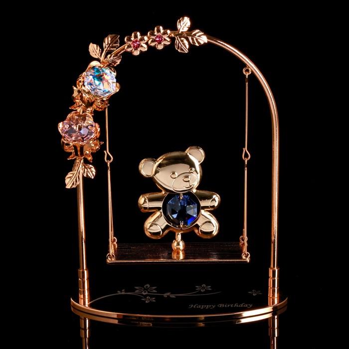 """Сувенир с кристаллами Swarovski """"Мишка на качелях"""" 13,2х10,5 см"""