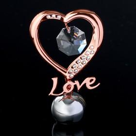 """Сувенир с кристаллами Swarovski """"Элегантное сердце Love"""" 8,3х5,1 см"""