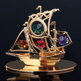 "Souvenir with Swarovski crystals ""Pirate ship"" 10. 1x8. 7 cm"
