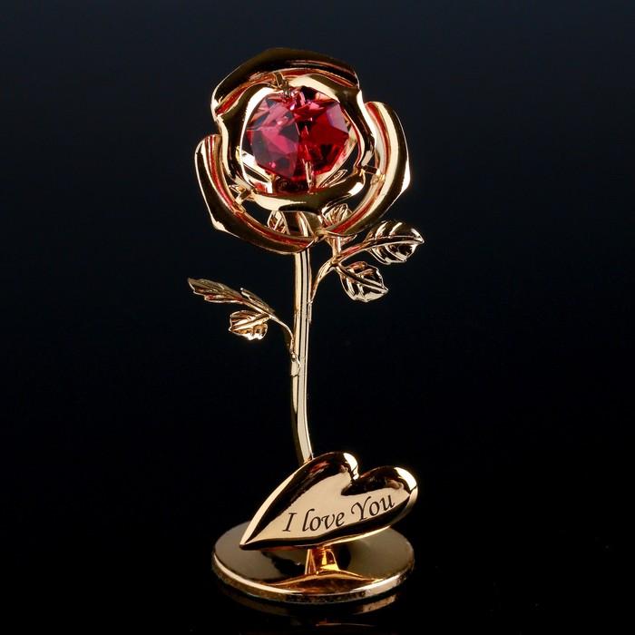 """Сувенир с кристаллами Swarovski """"Роза мини"""" 8х3,2 см"""
