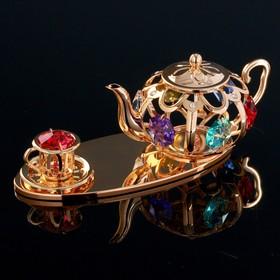 "Souvenir with Swarovski crystals ""Tea set"" 12. 2x4. 6cm"
