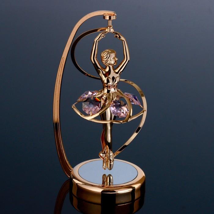 "Сувенир с кристаллами Swarovski ""Балерина в арке"" 13,9х5,8 см - фото 487783"