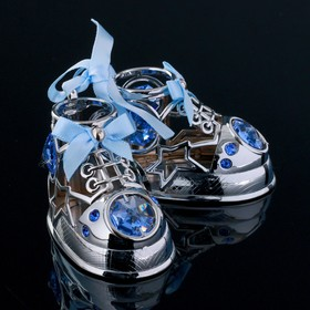 "Сувенир с кристаллами Swarovski ""Детские ботиночки"" хром 7,7х6 см"