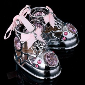 "Сувенир с кристаллами Swarovski ""Пара ботиночек"" хром 7,7х6 см"