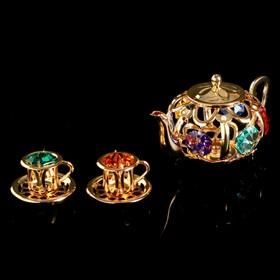 """Сувенир с кристаллами Swarovski """"Чайная пара с чайником"""" 12,2х4,5 см"""