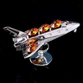 """Сувенир с кристаллами Swarovski """"Космический корабль"""" 9,7х6,6 см"""