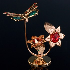 "Souvenir with Swarovski crystal ""Butterfly on flower"" 10x7,8cm"