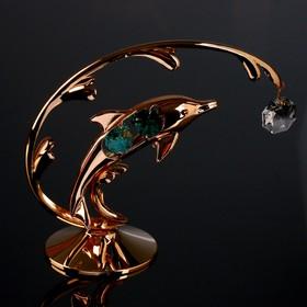 """Сувенир с кристаллами Swarovski """"Дельфин на волне"""" 14х12,5 см"""