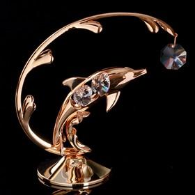 """Сувенир с кристаллами Swarovski """"Дельфин на волне"""" с прозрачными камнями 14х12,5 см"""