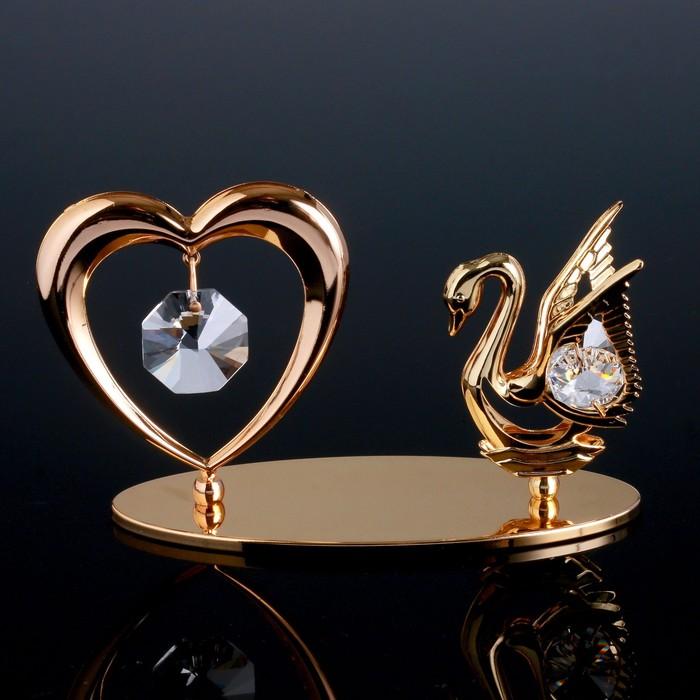 """Сувенир с кристаллами Swarovski """"Лебедь и сердце"""" 11,5х6,2 см - фото 487826"""