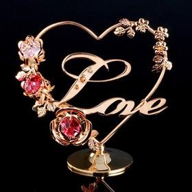 "Сувенир с кристаллами Swarovski ""Love с цветами"" 12,2х11,5 см"