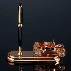 """Ручка чёрная на подставке """"Винтажная машина"""" с кристаллами Swarovski 16,2х15,9 см"""