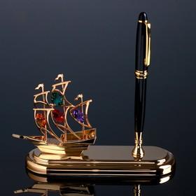 """Ручка чёрная на подставке """"Парусник"""" с кристаллами Swarovski 19х16,2 см"""