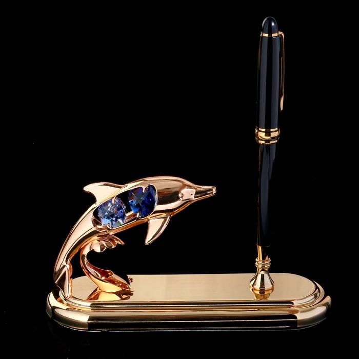 """Ручка на подставке """"Дельфинчик"""" с кристаллами Swarovski 16,2х15 см"""