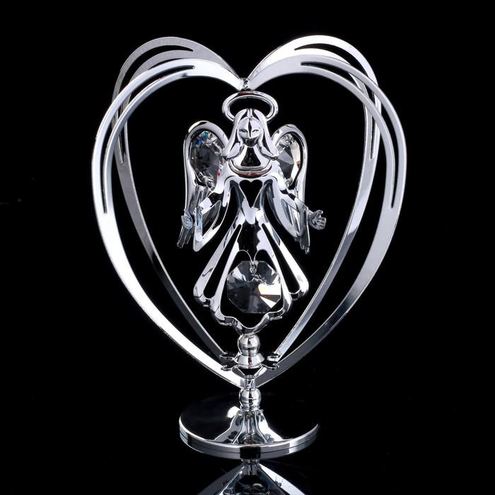 """Сувенир с кристаллами Swarovski """"Ангел-хранитель"""" хром 10,2х7,8 см"""