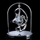 "Сувенир с кристаллами Swarovski ""Лебедь"" хром 13,8х10,2 см - фото 487862"