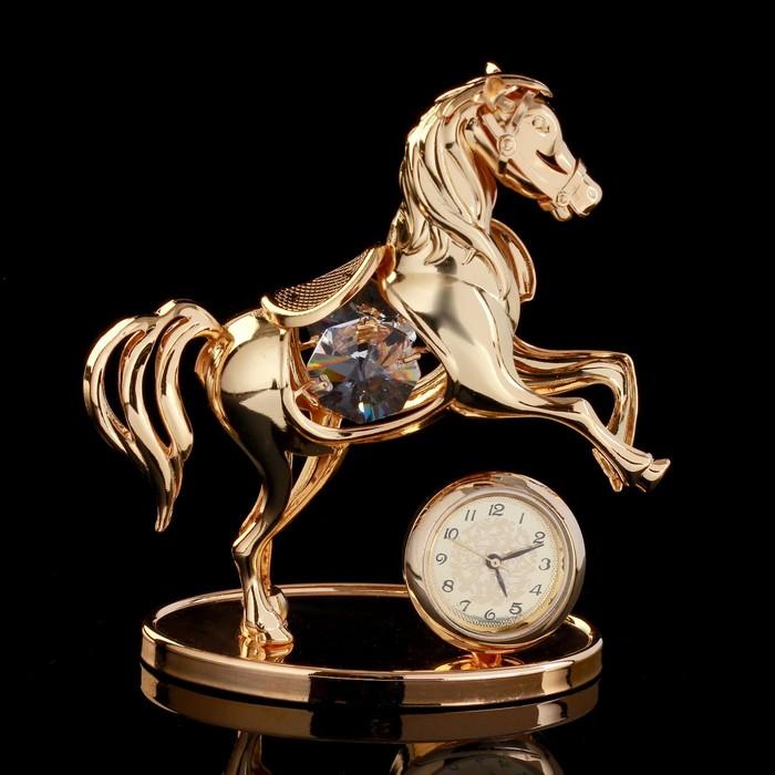 """Сувенир с кристаллами Swarovski """"Пони с часами"""" золото 8,5х8,3 см"""
